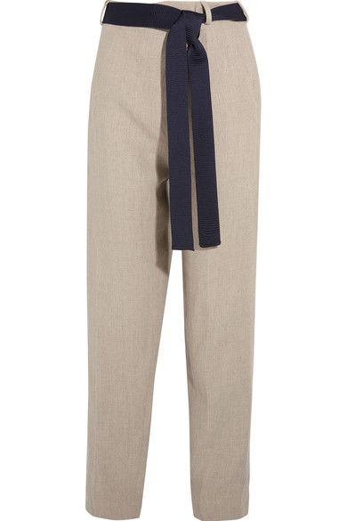 Victoria Beckham - Linen Tapered Pants - Neutral - UK12