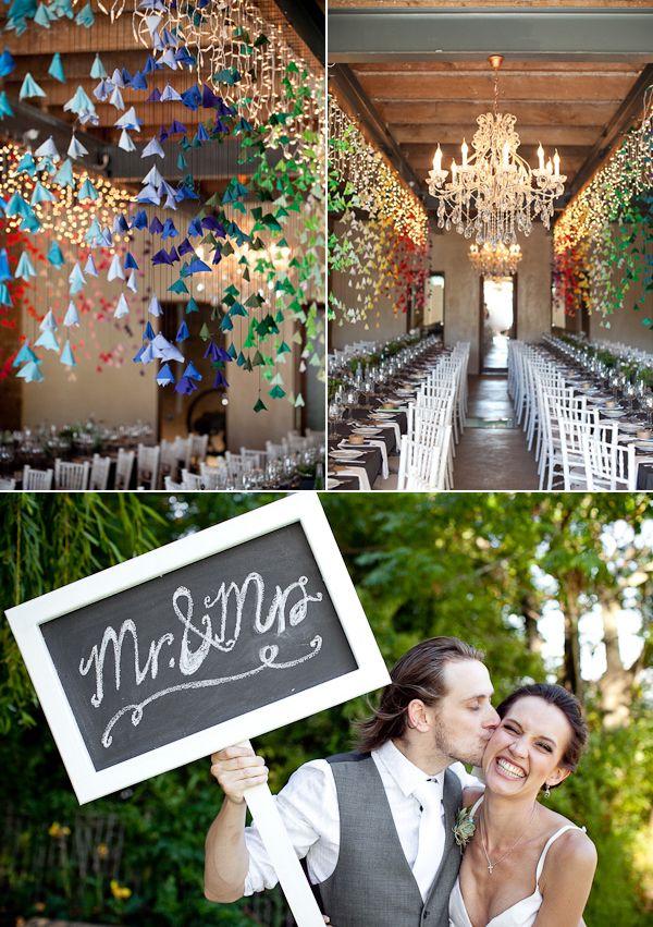 cool wedding decor: Paper Garlands, Paper Cranes, Rainbows Weddings, Pictures Decoration, Fabrics Flower, Paper Flower, Hanging Flower, Hanging Decoration, Chalkboards Decoration
