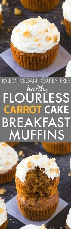 Healthy Flourless Carrot Cake Breakfast Muffins (V, GF, P, DF)- Easy, delicious and completely guilt-free muffins which are fluffy, light and secretly filling- Even the thick frosting is healthy and protein-packed! {vegan, gluten free, paleo recipe}- http://thebigmansworld.com