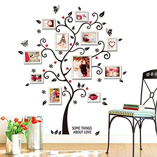 Soledi®Pegatinas Adhesivos vinilos decorativos pared Hojas árbol DIY con marcos de foto Removible para sala de estar dormitorio: Amazon.es: Hogar
