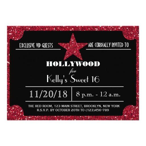 Red Glitter Hollywood Sweet 16 Birthday Invitation