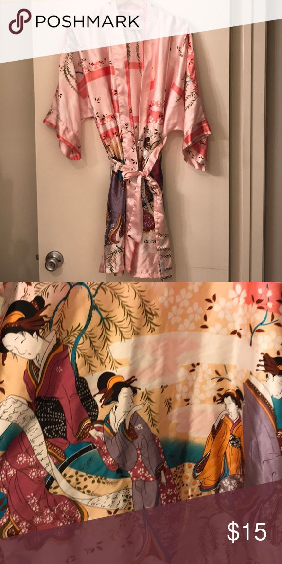 Japanese kimono robe Delicate, elegant, intricate pink kimono robe with geisha and floral patterns. Beautiful pink color with a silky sheen! Can fit a small, medium, or large frame! Intimates & Sleepwear Robes