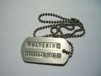 "Wolverine's Dog Tag was a military dog tag that belonged to Wolverine. It is a necklace showing a number which is 45825243-T78-A. The tag was given to James Howlett just before his skeleton was bonded with adamantium at Alkali Lake, and he chose the epithet ""Wolverine"" based on Kayla Silverfox's story. He kept it following his memory being erased by Stryker, and throughout his aimless wandering in the Canadian Rockies it served as the only reminder of his past life."