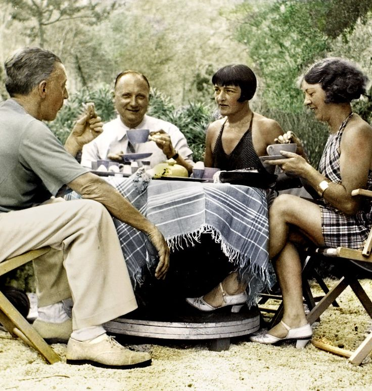 "Van Meegeren with his brother-in-law, wife Jo and sister Guusje in the rocky garden behind his villa in Roquebrune, France. At that time (1935) his masterpiece ""Christ at Emmaus"", his greatest fake after Vermeer, was in proces of creation. His sister Guusje later reported that she had not been allowed to visit her brother's studio (no wonder), as told at page 87 of ""Life and Work of Han van Meegeren""."