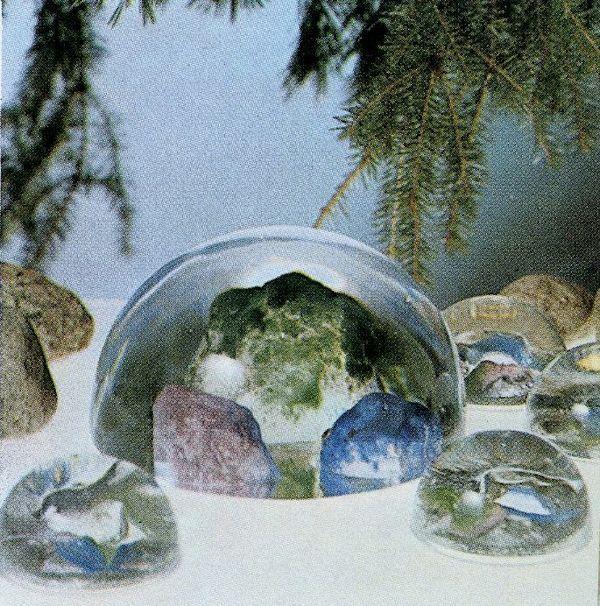 Rantakivet / Pebbles. Designer: Helena Tynell. Arkisto: Riihimäen Lasitehdas Oy (1976). #tynell #glass #design #finnishdesign  #riihimaenlasi