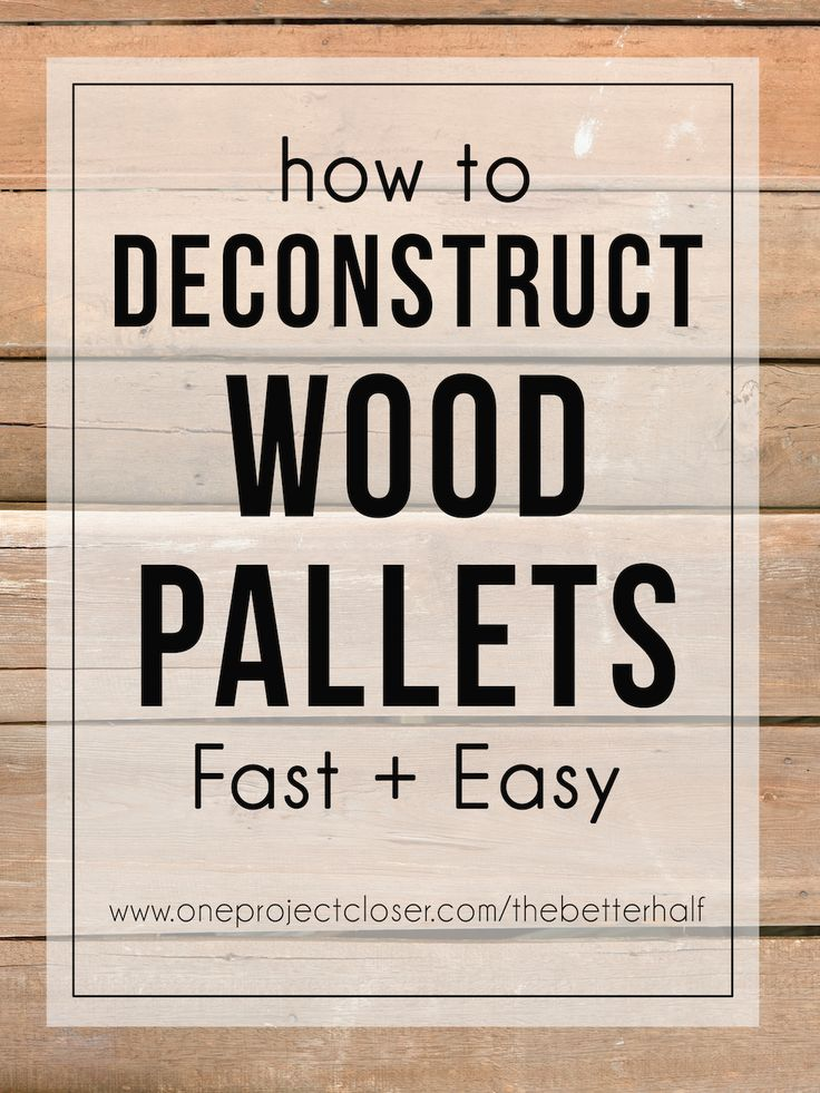 LOVE this tutorial on how to deconstruct wood pallets for wooden signs from One Project Closer. via @JocieOPC