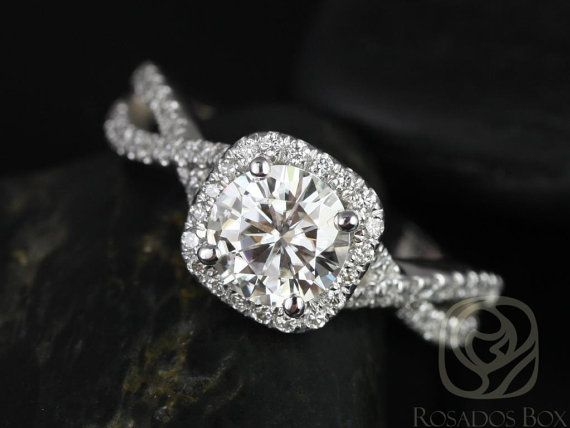 Josephine 7mm 14kt White Gold Round FB Moissanite and Diamonds Twisted Cushion Halo Engagement Ring (Other metals and stones available)