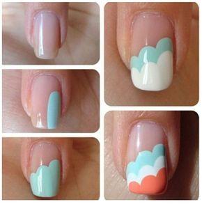 Scalloped multi layered nail art