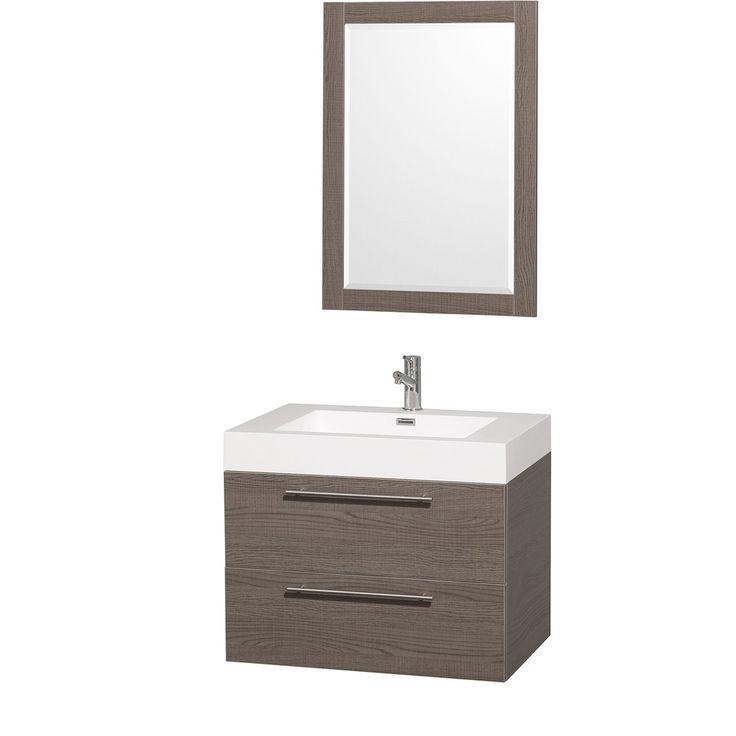 "Amare 30"" Gray Oak Wall Mounted Bathroom Vanity Set"