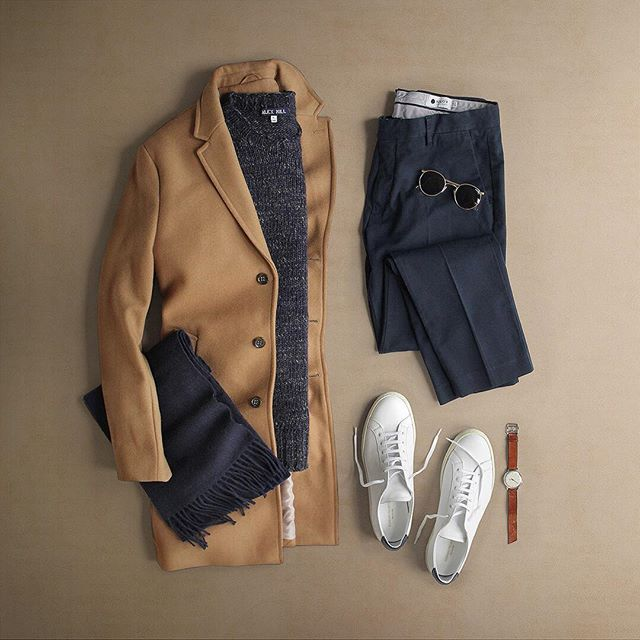 WEBSTA @ thepacman82 - Navy   Camel  #workflow Sweater: @alexmillny Macho Alpaca Blend CrewScarf: @ledburyshirts Navy CamdenSunglasses: @randolph.usa P-3 Gold PlatedPants: @nonationality07 Navy Theo SlimShoes: @commonprojects   @mrporterliveTopcoat: @bananarepublicWatch: @miansai M12