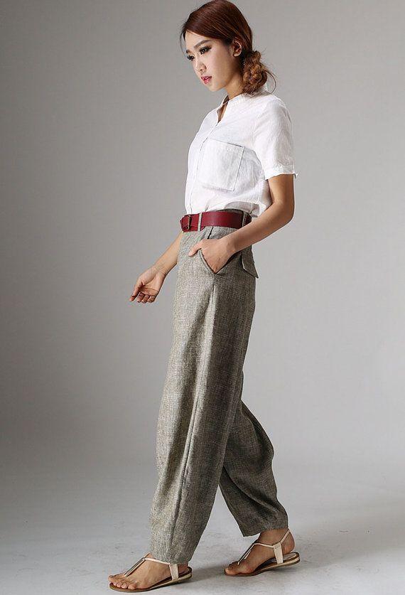 Maxi linen pants 986 by xiaolizi on Etsy, $69.00