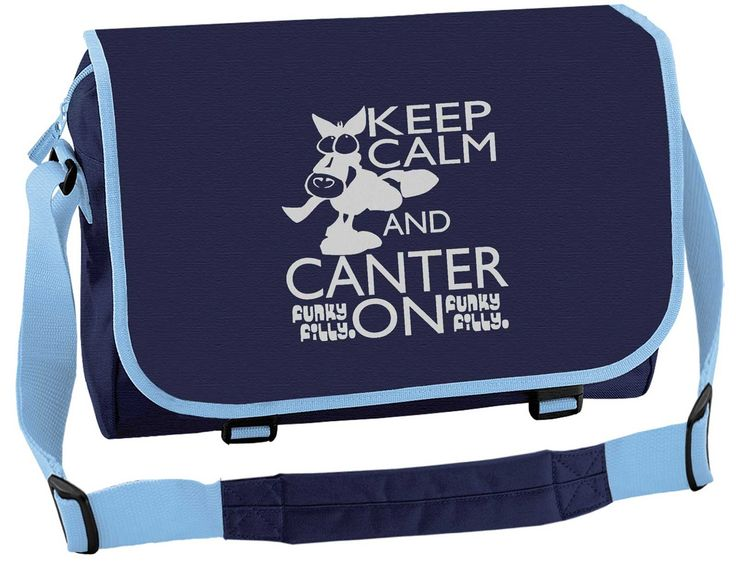 Silver Keep Calm and Canter On School Messenger Bag