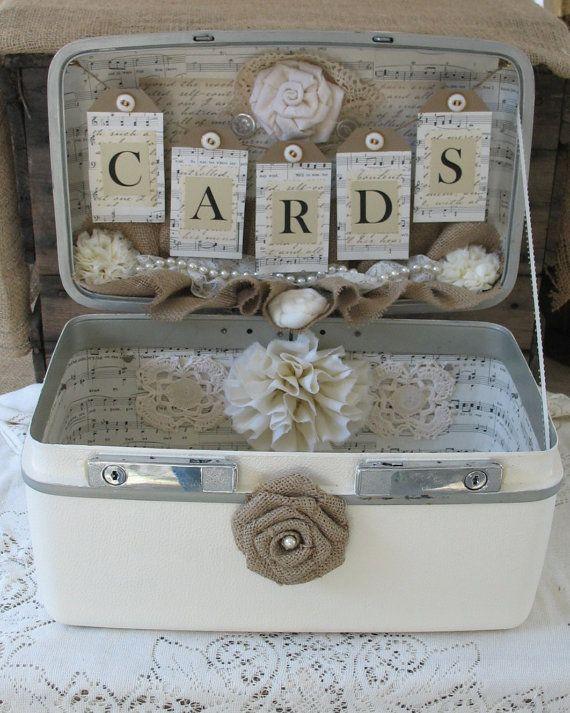 Vintage Suitcase Wedding Card Box Wedding Card Holder Wedding Decoration Ivory Off White Creme. $100.00, via Etsy.