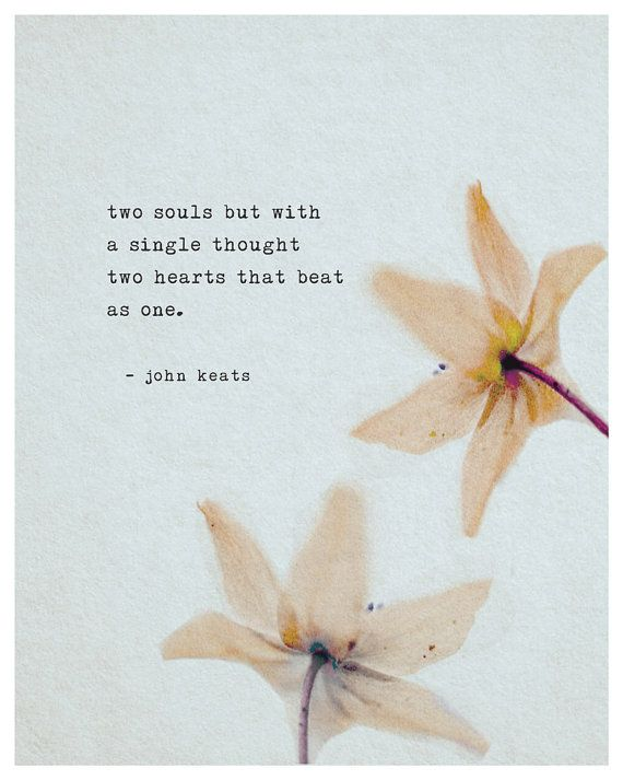 John Keats Poetry Art Love Poem Poster Two Souls But