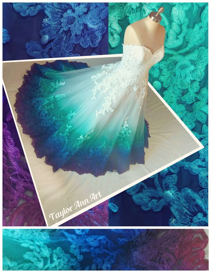 Ombre Blue Teal And Purple Wedding Dress Peacock Wedding Beach