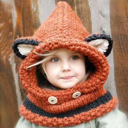 Cute Kids' Fox Ear Shape and Buttons Embellished Knitted Hooded Scarf Dispatch: Ships within 3 business days. FREE SHIPPING