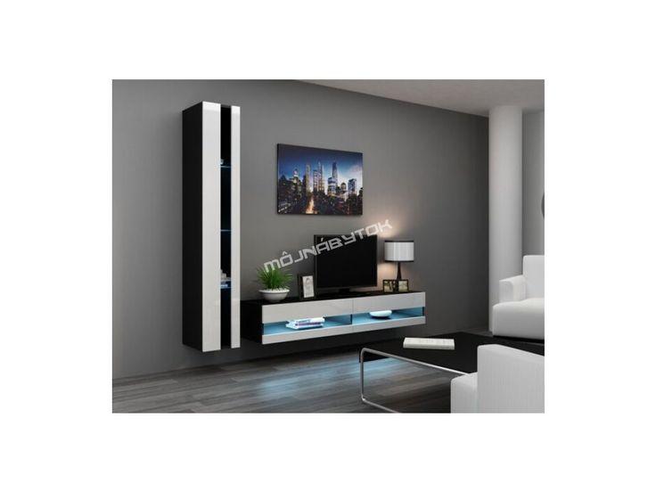 Obývacia stena Vigo VIII new čierna-biela.