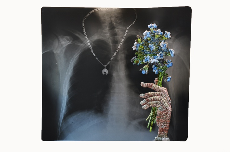 Matthew Cox, awesome artist.  One of his specialties is embroidery on xray.  So clever!