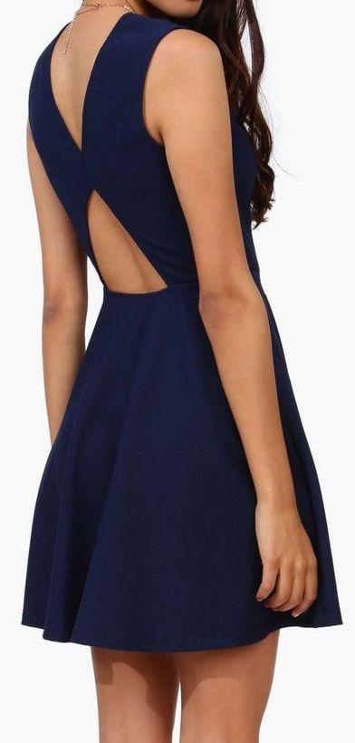 Navy Cutout Back Dress ♡