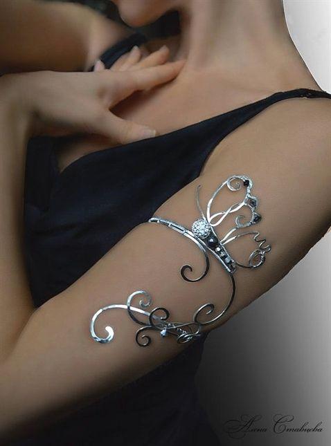 Spiral Upper Arm, Upper arm cuff, silver jewelry, copper