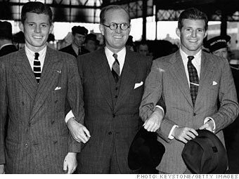 Joseph Kennedy with two of his sons, John F. Kennedy (left) and Joseph Kennedy Jr. (right), in London in 1937.