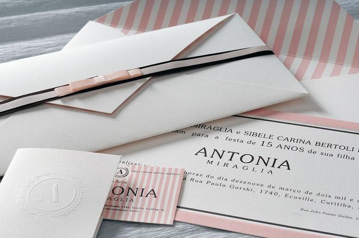 Convite classico rosa e marrom
