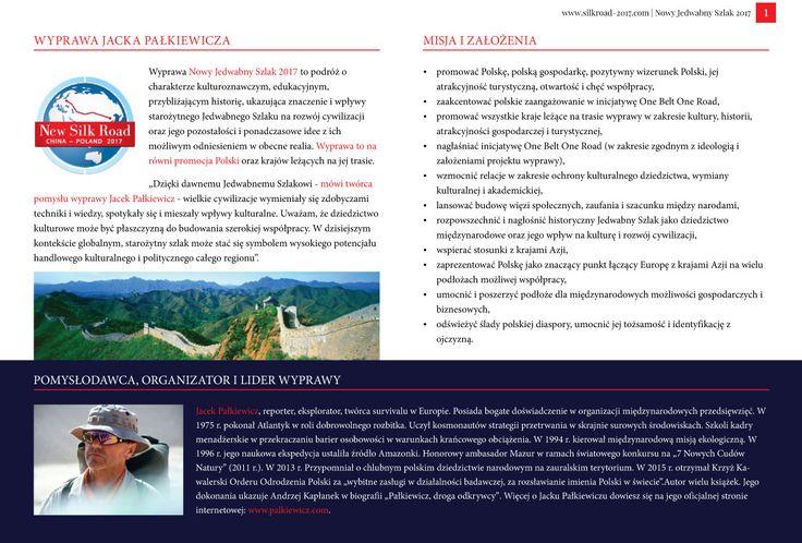 Strona 1 broszury międzynarodowej wyprawy Nowy Jedwabny Szlak 2017 - wydanie wrzesień 2016 | http://silkroad-2017.com