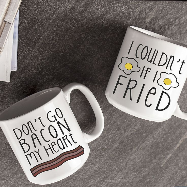 With these whimsical bacon-and-egg-themed coffee mugs, every morning will be a shared chuckle between you and your mug buddy.
