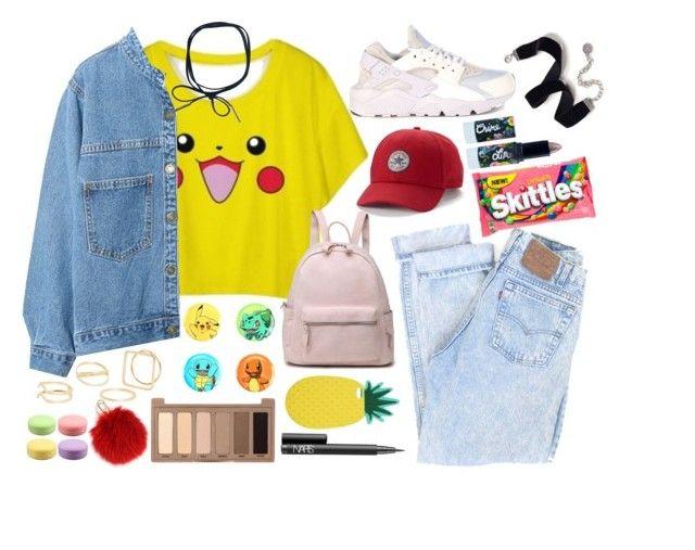 """Pokemon style / Pikachu"" by nastyanotnoisy on Polyvore featuring мода, WithChic, NIKE, Converse, Furla, Miss Selfridge, Sweet Romance, MANGO, NARS Cosmetics и Urban Decay"