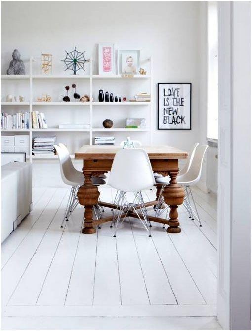 Houten vloer wit white dining