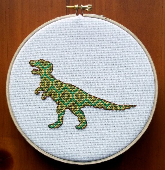 TRex Cross Stitch Pattern Digital Download PDF by bythelindentree, $5.00