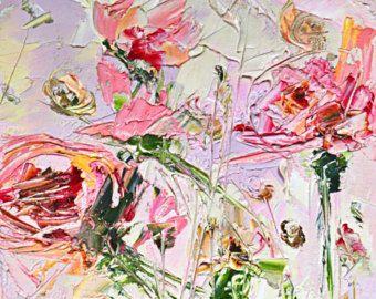 Originele Pink Abstract olieverfschilderij-abstracte bloemen Rose Peony chrysanten Gerbera kunst bloemen mooie zonnige vreugdevolle Lila impressionisme