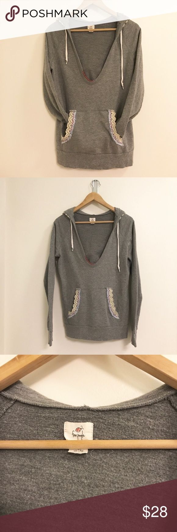 Free People Gray Hoodie Free People Allure Pull Over - Free People - Medium - Beige - Oversize slouchy fit - Perfect Condition Free People Tops Sweatshirts & Hoodies
