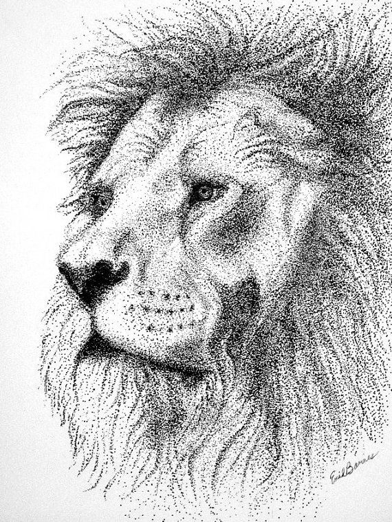 Original LION  Pointillism Pen and Ink Drawing by MYDOTSHOP, $60.00