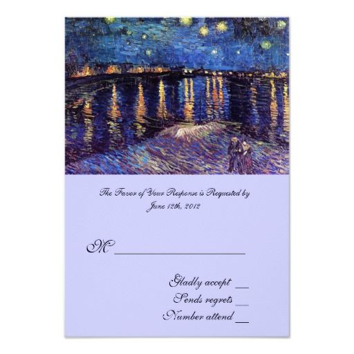 RSVP, wedding acceptance card, Starry Night over the Rhone by Vincent van Gogh.