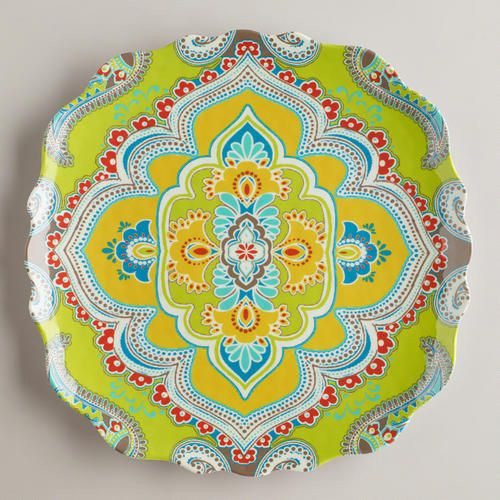 One of my favorite discoveries at WorldMarket.com: Green Paisley Antigua Plates, Set of 2