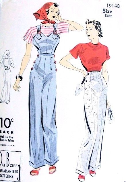 Late 1930s Fab Halter and Pants Pattern DuBarry 1914B Cute Buckle Trim Halter Side Button High Waist Pants Slacks Trousers With Cuffs Figure Flattering Bust 32 Vintage Sewing Pattern FACTORY FOLDED