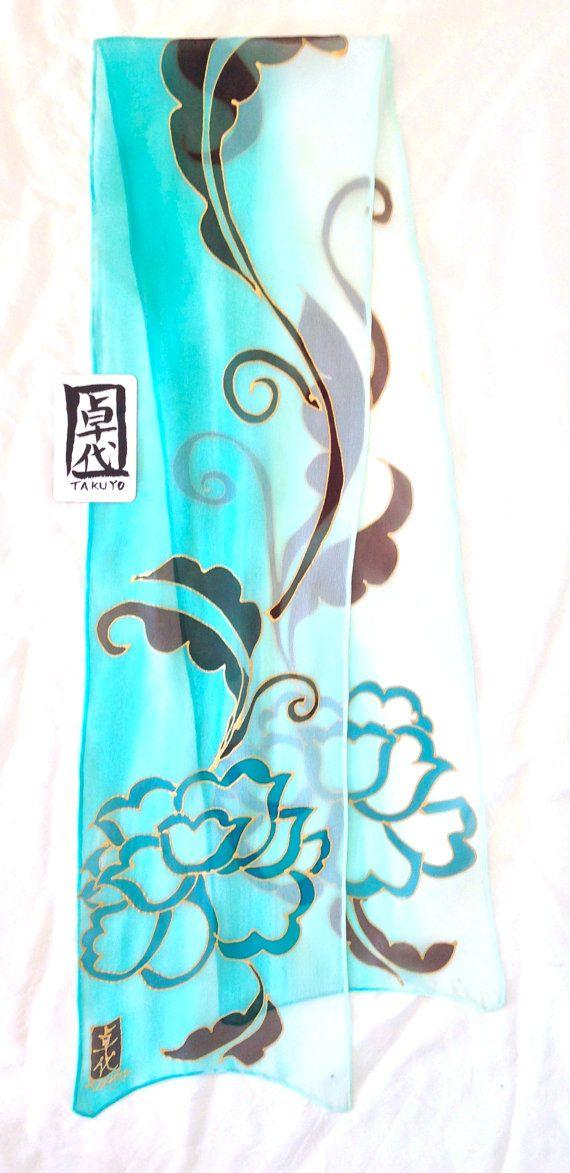 Handpainted silk scarf Japanese Floral Scarf by SilkScarvesTakuyo