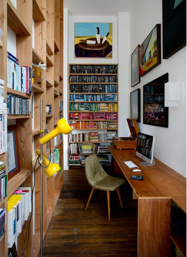 I love this little work space. But, as a librarian's daughter, the idea of o…