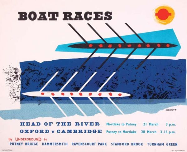 Boat Race poster for London Transport by Anne Hickmott, 1959