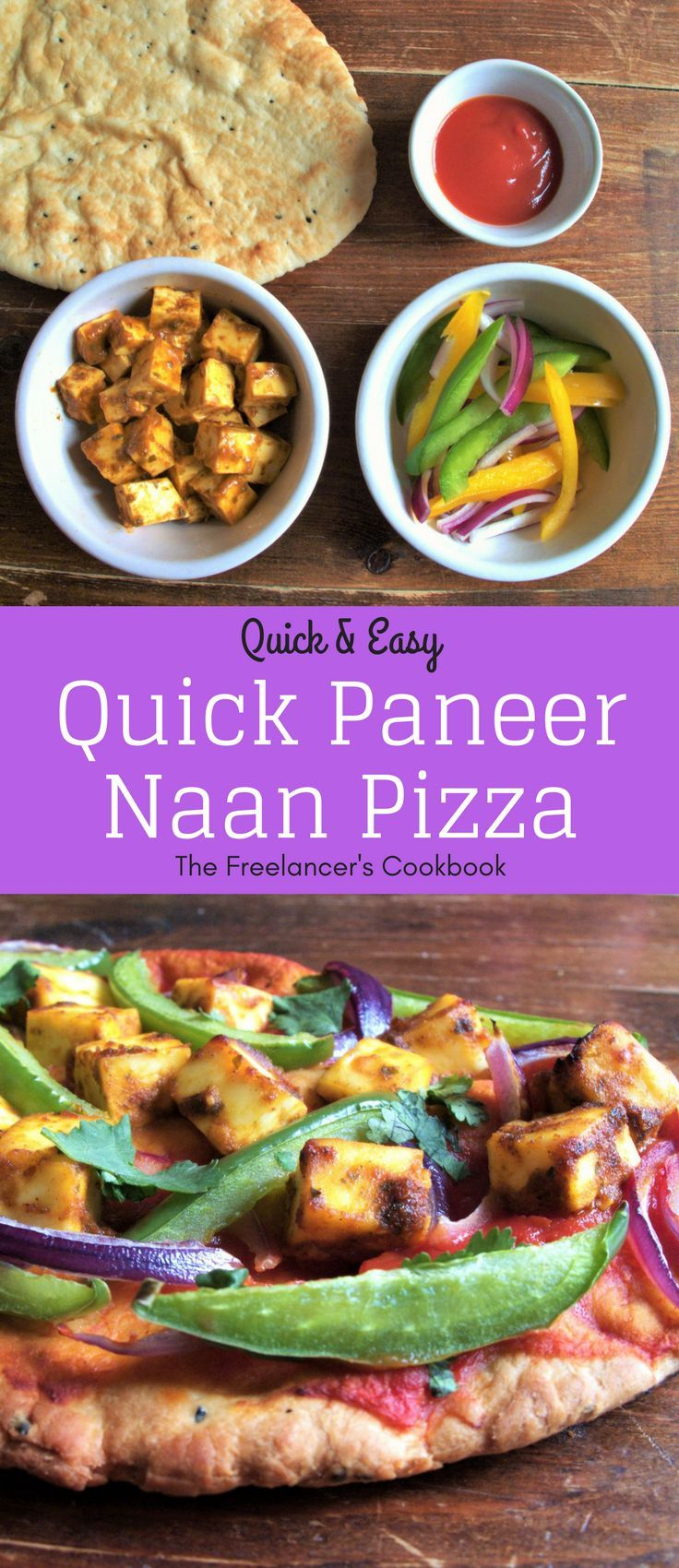 A super easy, quick recipe that's perfect for lunch or a midweek dinner. It's vegetarian, containing Indian paneer cheese, spicy balti curry paste, lemon juice, red onion, pepper, passata and naan bread.