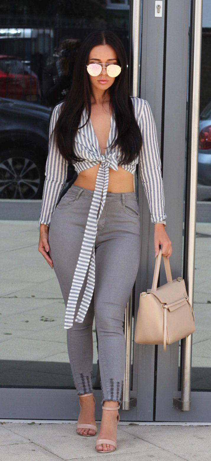 #summer #outfits Striped Tie Top + Grey Skinny Jeans + Nude Sandals // Shop This Outfit In The Link