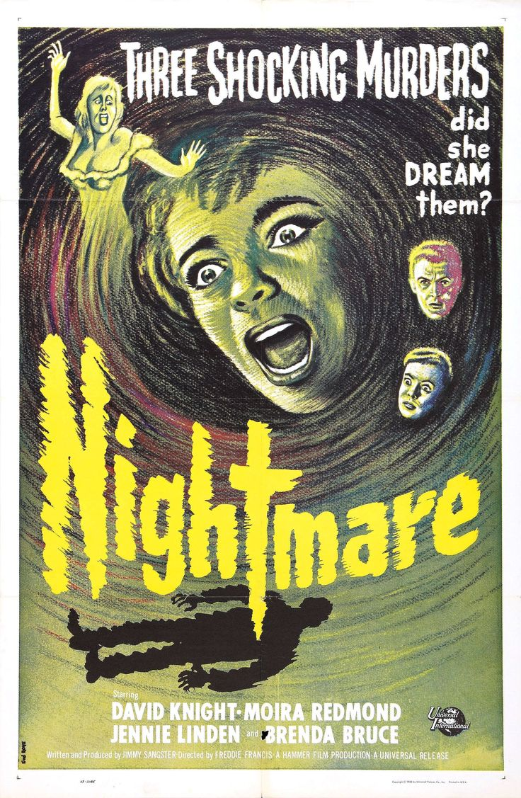 """Movie Poster for the Hammer Horror film """"Nightmare"""" (1964), starring Jennie Linden and directed by Freddie Francis."""