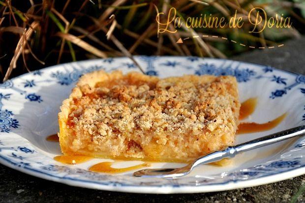 Une tarte bien de saison... Ingrédients pour une tarte rectangulaire La garniture 800 gr de coings en cubes 5 pommes 100 gr de sucre roux 1 gousse de vanille La pâte 1 oeuf 100 gr de beurre 200 gr de farine 20 gr de sucre 1 pincée de sel Le crumble aux...