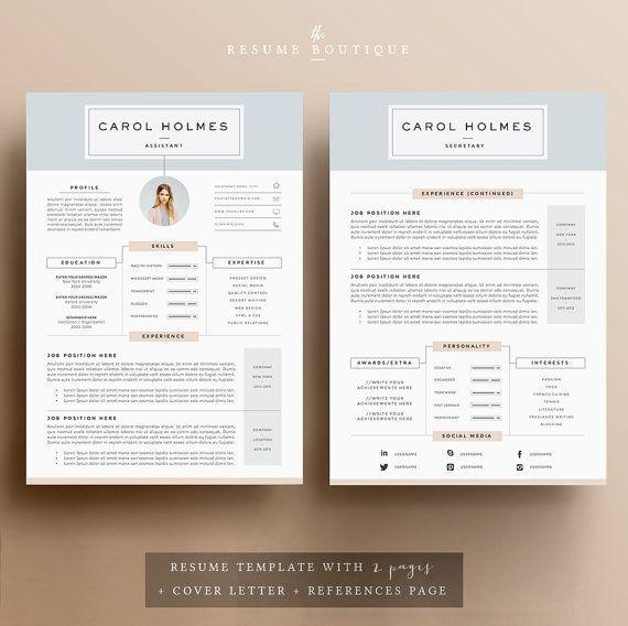 5 Pages Resume Template Et Lettre D Accompagnement Etsy In 2020 Resume Template Lettering Cover Letter Template