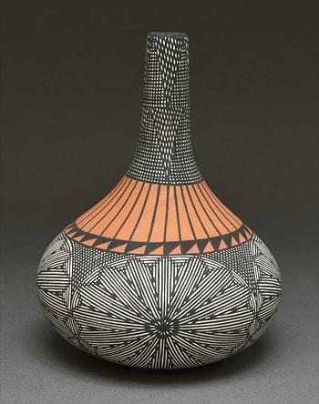 Fine Line Geometric Pottery Vase by Jay Vallo (Acoma)
