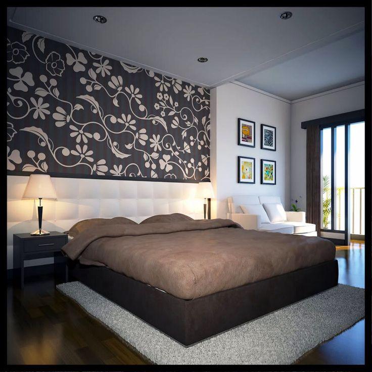 Интерьер спальни обои двух видов фото