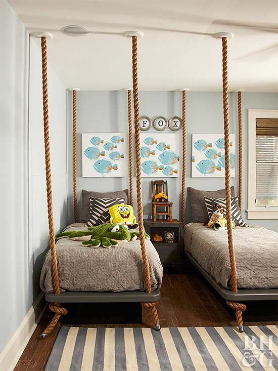 Friendly sea creature paintings and stuffed animals bring this ocean-inspired room to life.