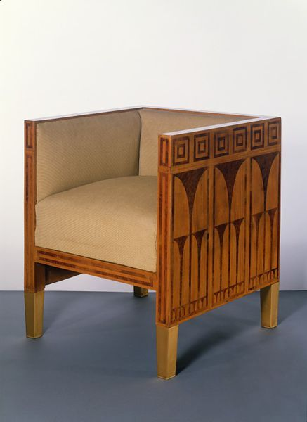 Koloman MOSER, Armchair, 1903. Veneered in thuya wood, inlaid with satinwood and brass, engraved and inked, on a deal carcase, with mahogany interior, oak drawer linings, other woods, including lime, spruce, alder, plane and elm, and gilt metal feet