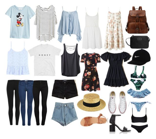 """""""Backpacking Europe"""" by lucindachipman on Polyvore featuring Hollister Co., Velvet, Miss Selfridge, Dorothy Perkins, Topshop, Sans Souci, Kavu, WithChic, Polo Ralph Lauren and J Brand"""